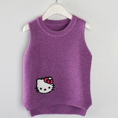 春秋新款童装中大童羊毛羊绒衫女童毛衣背心儿童针织马甲坎肩百搭