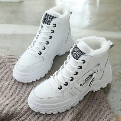 马丁靴女鞋19年潮鞋冬季新款棉鞋网红百搭英伦风高帮短靴加绒加厚