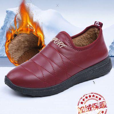 老北京布鞋冬季保暖棉鞋女士防水加绒短靴防滑加厚平底妈妈鞋棉靴