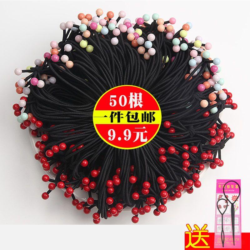 50根红珠皮筋发绳头绳韩国小清新头饰扎头发发圈马尾胶圈皮套成人