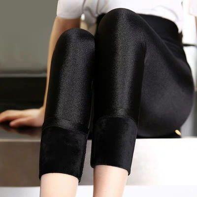 矮个子裤子女150小个子光泽裤加绒加厚145裤子冬季九分打底裤
