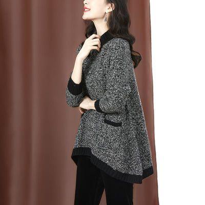 毛衣春季上衣女2020春装新款半高领韩版长袖中长款洋气宽松针织衫