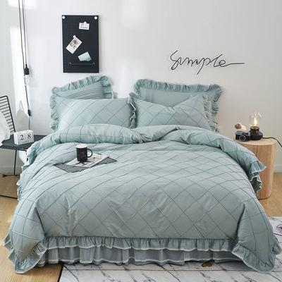 【正品】100%纯棉被套四件套全棉公主风床罩床裙韩版床上用品新款