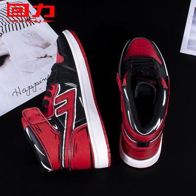 Warrior/回力高帮线条鞋做旧多姿运动鞋透气耐磨手绘涂鸦男鞋女鞋