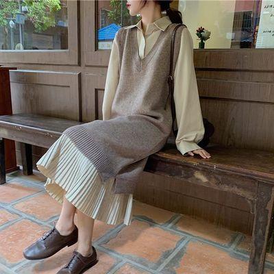 64595/2021春秋新款衬衫连衣裙毛衣套装女大码小香风时尚胖MM两件套洋气