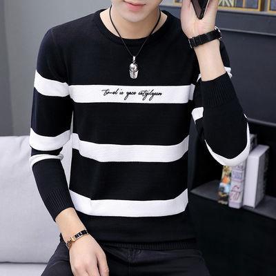 男士毛衣秋冬季韩版修身加厚圆领套头毛线衣男学生针织打底衫外套