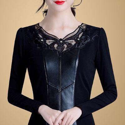 网纱打底衫女长袖2019新款秋冬女装大码长袖上衣加绒加厚冬季保暖