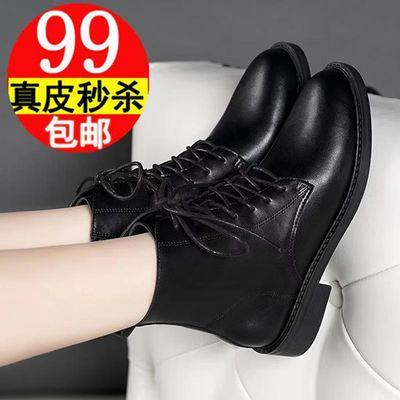 红RD蜻蜒黑色真皮短靴女冬加绒平底英伦风马丁靴夏季透气粗跟靴子