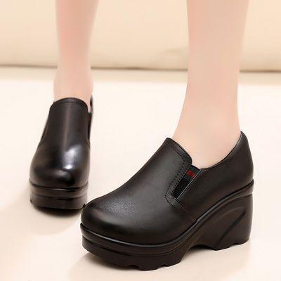 圆头深口松紧带厚底鞋松糕一脚蹬单鞋春秋季懒人高跟女士坡跟皮鞋