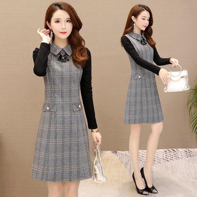 加绒常规新款春秋冬装年轻妈妈时尚修身显瘦中长款连衣裙中年女装