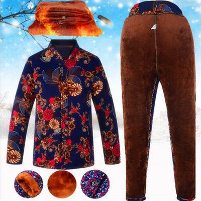 冬季女士驼绒棉袄棉裤套装加绒加厚加肥加大码中老年妈妈棉服包邮