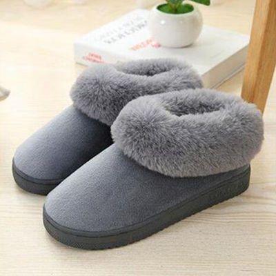 秋冬季情侣拖鞋女防滑防臭室内外居家加绒厚底包根月子可爱棉拖鞋