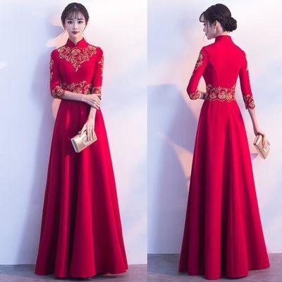 中式敬酒服新娘2019新款春季红色结婚旗袍晚礼服孕妇长袖女遮肚子