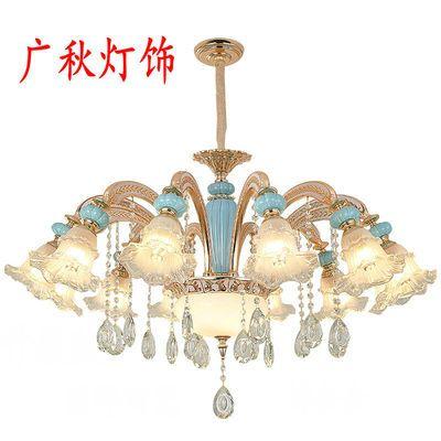 2019年新款陶瓷锌合金灯具欧式水晶吊灯客厅奢华卧室简欧餐厅灯饰
