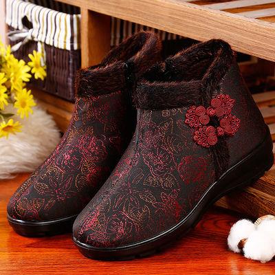 老北京布鞋女棉鞋中老年加绒保暖防滑妈妈鞋冬平底软底老人奶奶鞋