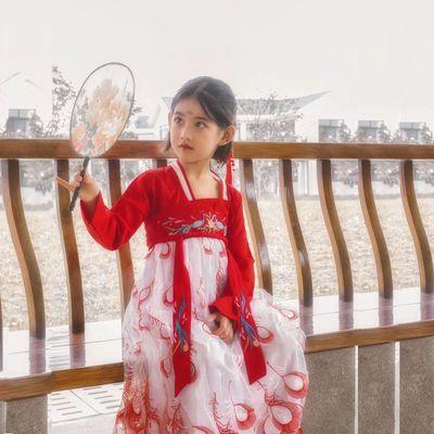 女童汉服中大童中国风贵妃儿童襦裙套装女孩春夏超仙公主古装裙子