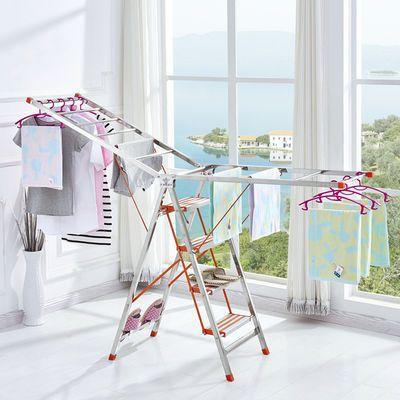 多功能梯子晾衣架两用折叠家用不锈钢人字爬梯加厚铝合金室内楼梯