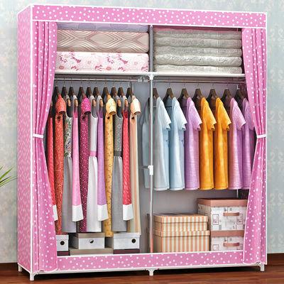简易衣柜钢管加粗加固组装布衣柜双人收纳柜子带拉链衣橱挂衣柜