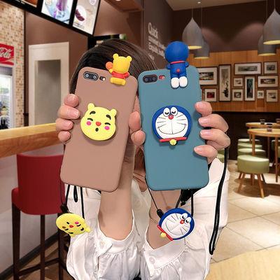 维尼熊苹果7plus 8plus哆啦A梦手机壳iPhone7/8软壳6splus挂绳女6