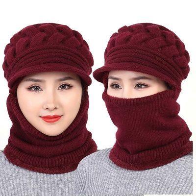 帽子女冬季加厚连体妈妈毛线防风帽老人冬天保暖中老年加绒针织帽主图