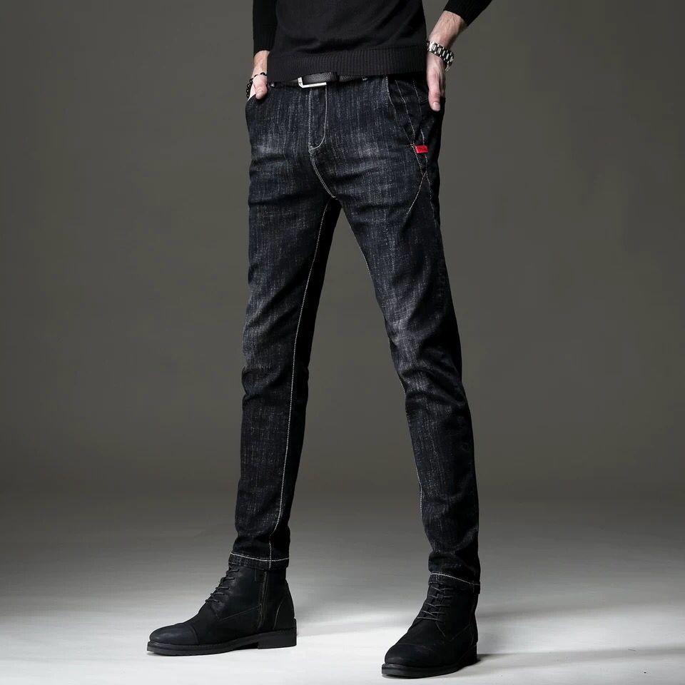 Autumn And Winter New Jeans Men's Slim Leggings Korean Fashion Brand Black Men's Elastic Casual Long Pants Men