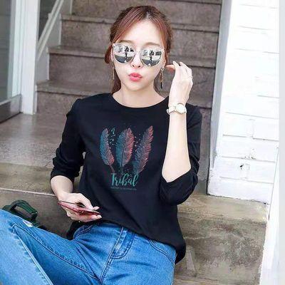 【高品质】纯棉长袖t恤女宽松韩版2020新款春季长袖打底衫女上衣