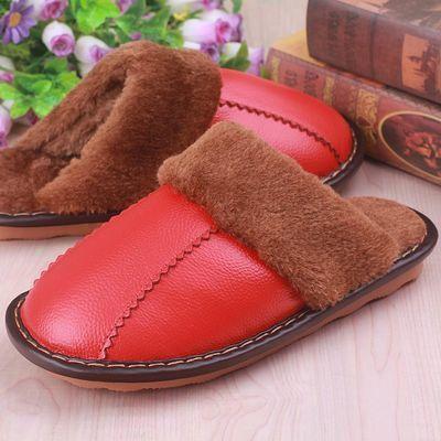 冬季居家真皮保暖皮拖鞋男室内家居防水防滑厚底家用棉拖鞋女情侣
