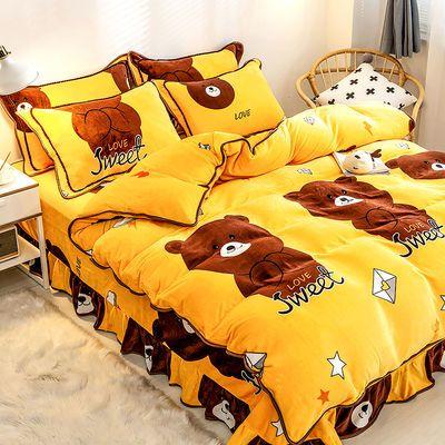 防静电床裙式金貂绒四件套加厚床单保暖法兰绒被套珊瑚绒床上用品