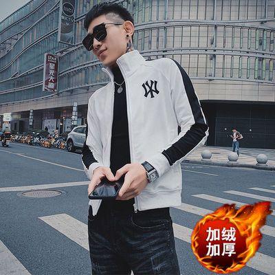 冬季新款加绒加厚外套男学生韩版潮流帅气修身青年夹克男装上衣服