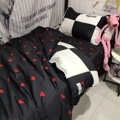 床上用品简约ins四件套个性黑色爱心被套1.8学生床单宿舍三/4件套【3月6日发完】
