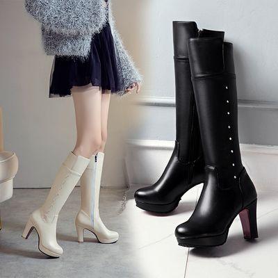 2019新款高筒靴中跟女靴子粗跟马丁靴女士长靴厚底加绒雪地靴高筒