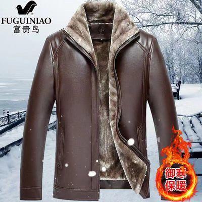 皮夹克男秋冬季加绒加厚外套中老年皮毛一体pu皮爸爸保暖冬装软皮