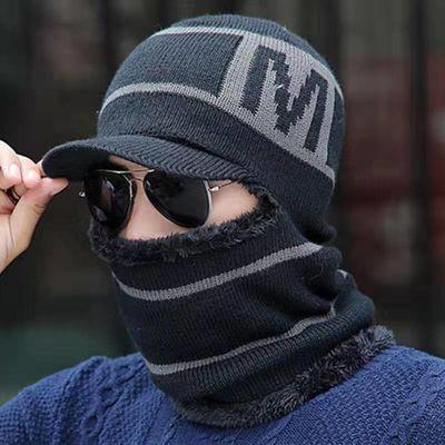 男士帽子冬季保暖毛线帽青年韩版冬天护耳针织帽加绒加厚套头棉帽主图
