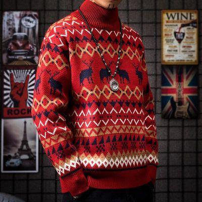 红色麋鹿秋冬季加厚情侣装修身半高领毛衣男士潮流学生个性针织衫