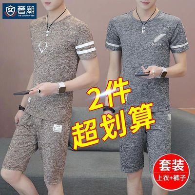 套装/T恤夏季休闲套装男士短裤短袖套装冰丝运动T恤青年爸爸套装