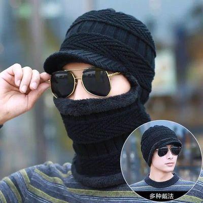 帽子男加绒加厚保暖女士男士帽子冬季防风护耳骑车毛线帽套头帽子