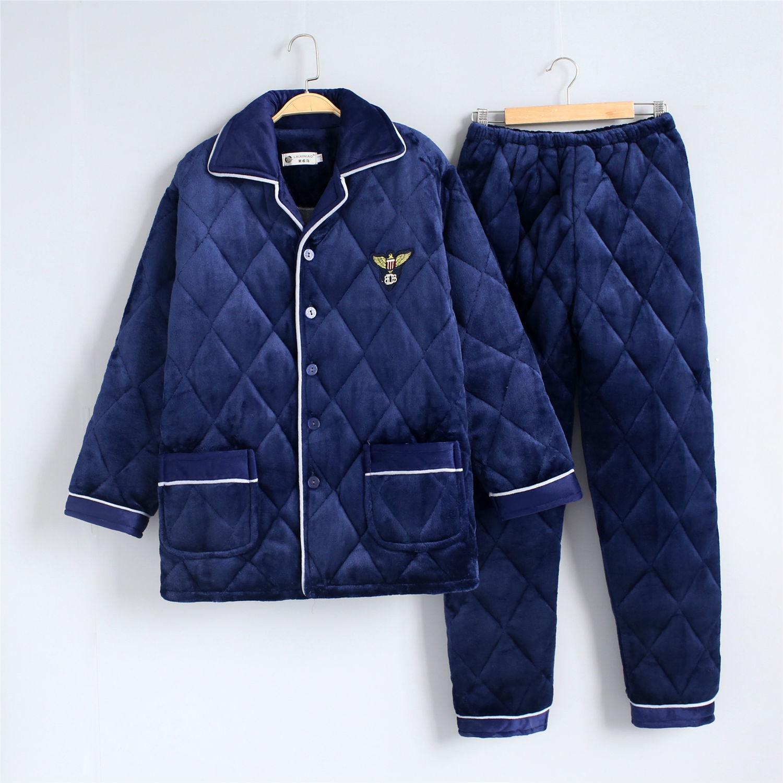 三层加厚珊瑚绒夹棉睡衣男士冬季长袖加绒法兰绒秋冬款家居服套装