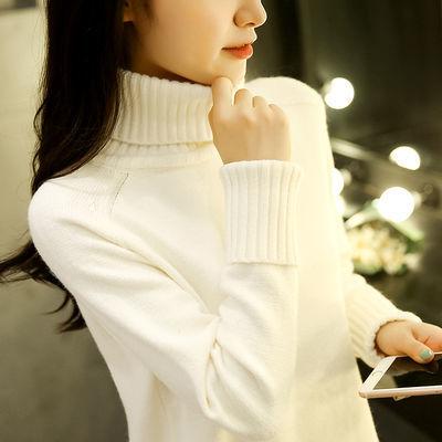 秋季新款毛衣女学生宽松高领毛线衣韩版百搭短款针织衫外套打底衫