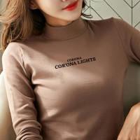 【加厚加绒】打底衫女t恤长袖修身韩版新款秋冬装内搭半高领上衣