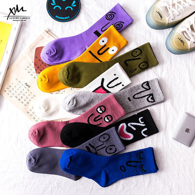 【3/5双装】袜子女男表情长袜 个性韩版原宿运动高筒袜街头滑板袜