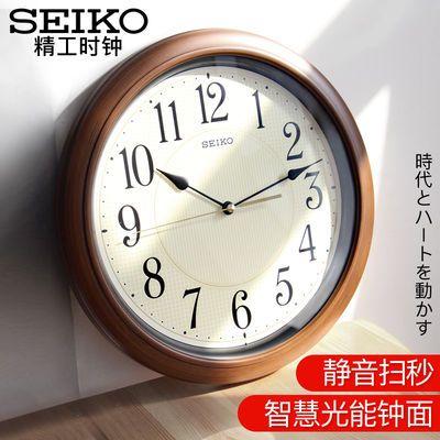 SEIKO日本精工中式客厅卧室办公室钟表棕色木纹夜光复古静音挂钟