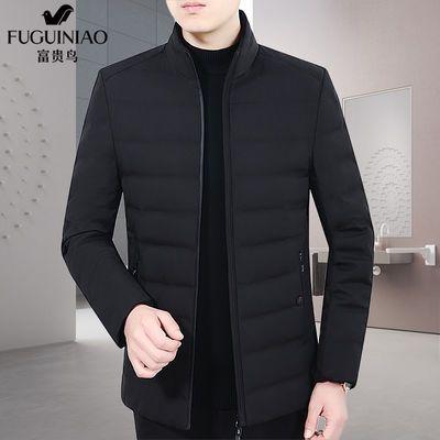 90%白鸭绒富贵鸟男装羽绒服男短款立领中年男士冬装外套爸爸装厚