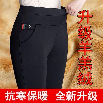 秋冬加绒加厚女裤子高腰大码外穿打底裤女黑色铅笔裤妈妈休闲裤