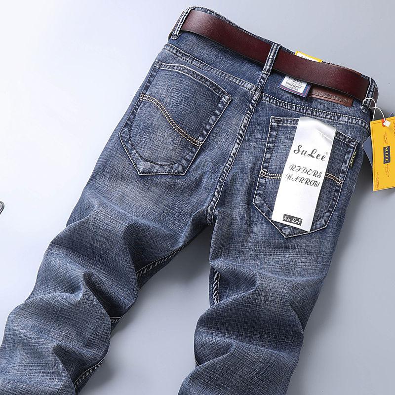SULEE男士牛仔裤弹力2019冬季厚款直筒宽松休闲修身潮牌男装长裤
