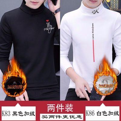 冬季男士加绒加厚卫衣男半高领长袖t恤男装韩版修身学生 打底衫潮