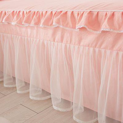 新款网红韩版公主蕾丝床裙式床罩式4四件套纯色花边被套床套1.51.【3月7日发完】