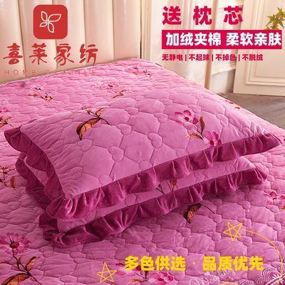 花边枕套水晶绒夹棉枕拉链式信封式枕头皮一对成人枕头套均码4874