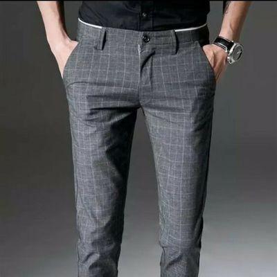 春夏薄款条纹男士商务休闲免烫西装裤子韩版修身直筒小脚西裤男潮