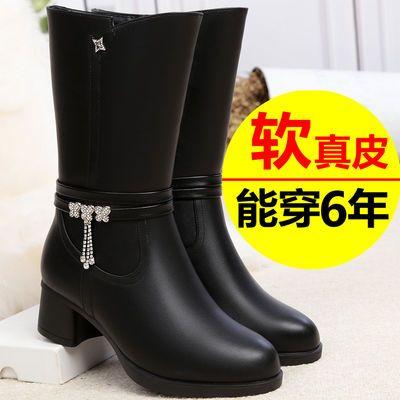 冬季靴子2020新款中年妈妈棉鞋靴子女粗跟加绒保暖舒适中筒皮靴女