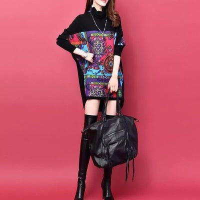2019秋冬装女新款堆堆领印花蝙蝠袖大码女装连衣裙打底裙针织裙子